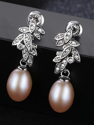 Pink 1K14 925 Sterling Silver Freshwater Pearl White Leaf Trend Drop Earring