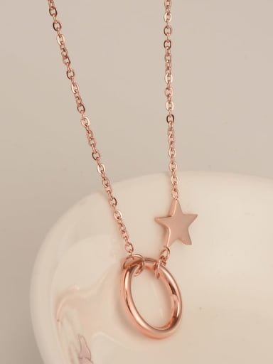Titanium Button  Pentagram  Necklace