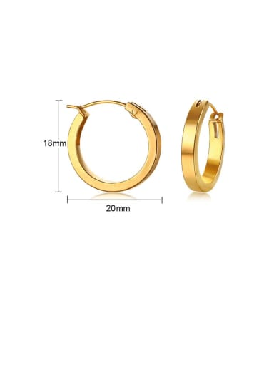 Gold: 20mm Titanium Hollow  Round Minimalist Hoop Earring