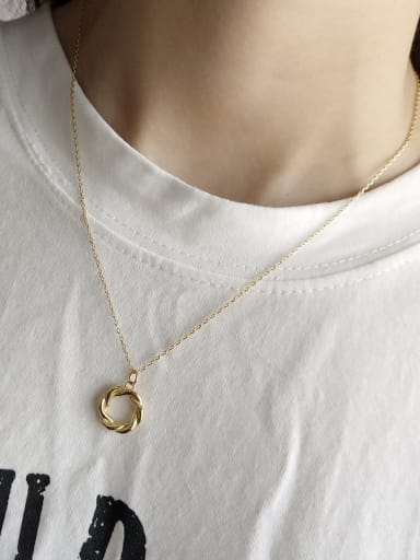 925 Sterling Silver retro simple Circle Necklace