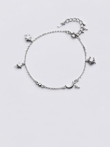 925 Sterling Silver Cubic Zirconia   Minimalist Star Moon Bracelet