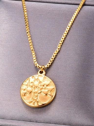 Titanium Round tree Minimalist pendant Necklace