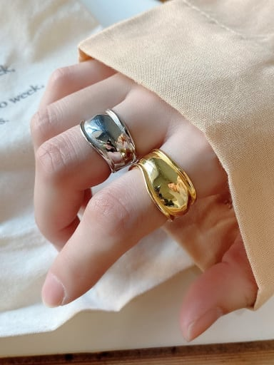 925 sterling silver simple irregular wide face ring
