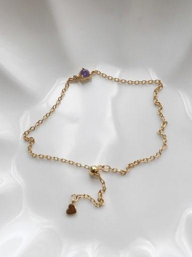 925 Sterling Silver Cubic Zirconia Purple Bracelet