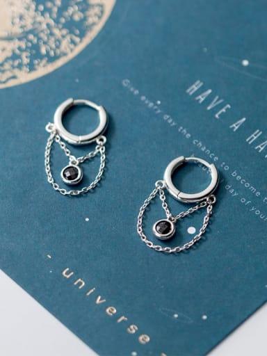 925 Sterling Silver Rhinestone Chain Tassel Minimalist Threader Earring