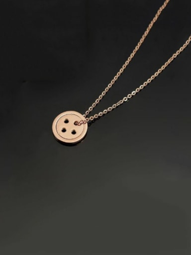 Titanium Round  Button Necklace