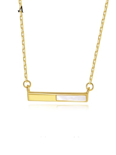 925 Sterling Silver Shell Geometric Minimalist Necklace