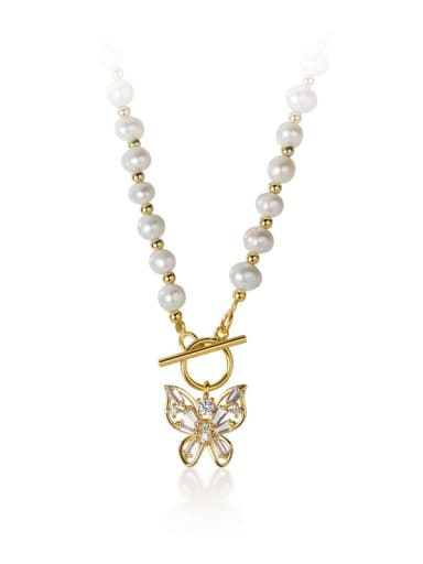 925 Sterling Silver Imitation Pearl Butterfly Trend Choker Necklace