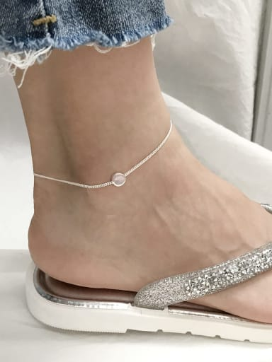 925 Sterling Silver  Minimalist  Round   Anklet