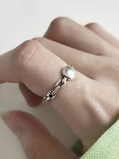 925 Sterling Silver  Vintage Chain  free size Ring