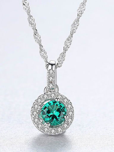 Green 20F12 925 Sterling Silver Cubic Zirconia Multi Color  Simple Round Necklace