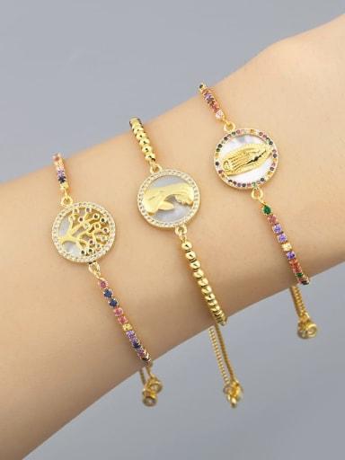 Brass Shell Round Minimalist Beaded Bracelet