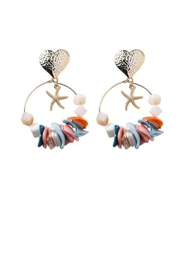 A love money Zinc Alloy Shell Multi Color Heart Bohemia Chandelier Earring