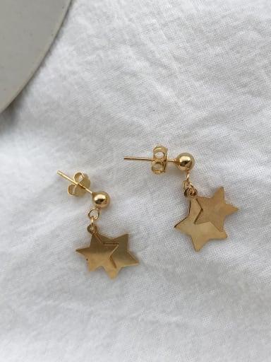 925 Sterling Silver Trend   Double Star Stud   Drop Earring