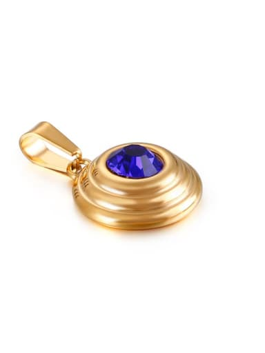 blue Stainless  Steel Round  Glass Stone Multi Color Minimalist Pendant