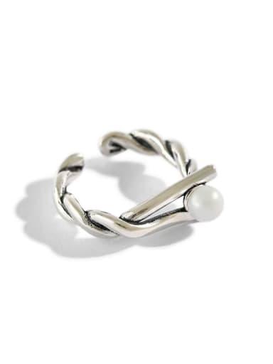 925 Sterling Silver Simple retro twist  bead ring