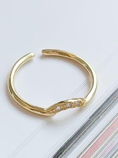 Zircon ring J 658 925 Sterling Silver Imitation Pearl  Irregular Minimalist Free Size Midi Ring