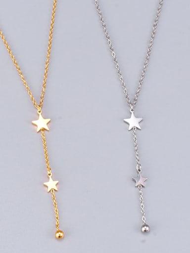 Titanium Star Minimalist Tassel Lariat Necklace