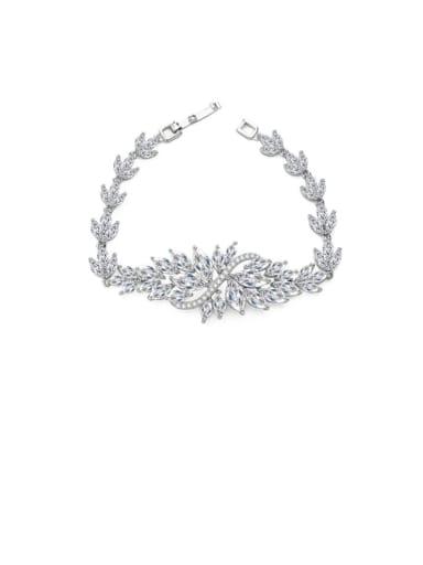 Copper Cubic Zirconia Flower Luxury Bracelet
