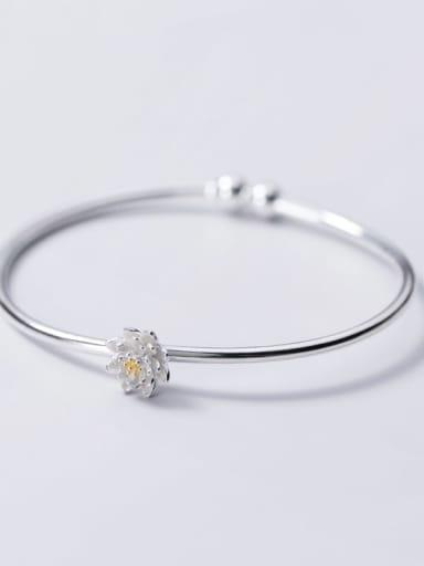 925 Sterling Silver Flower Minimalist Cuff Bangle
