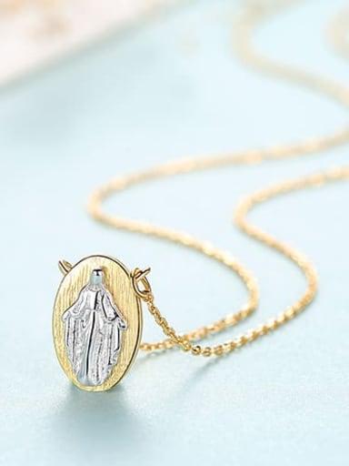 18K 15H11 925 Sterling Silver Vintage multicolor plating pendant Necklace