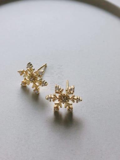 Snow stud in C611 925 Sterling Silver Cubic Zirconia White Heart Cute Stud Earring