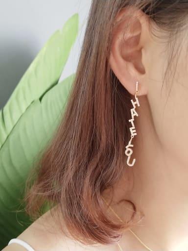 925 Sterling Silver Cubic Zirconia White Letter Artisan Threader Earring