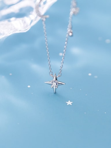 925 Sterling Silver Cubic Zirconia Fashion Diamond Star Moon  Necklace