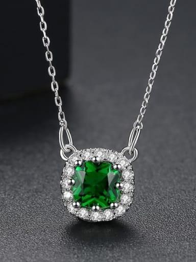 Emerald t10f02 Copper Cubic Zirconia Minimalist Geometric pendant  Necklace