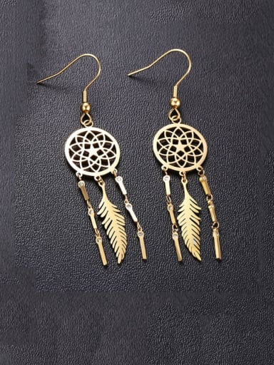 Stainless Steel With Dream Catcher Tassel Earrings