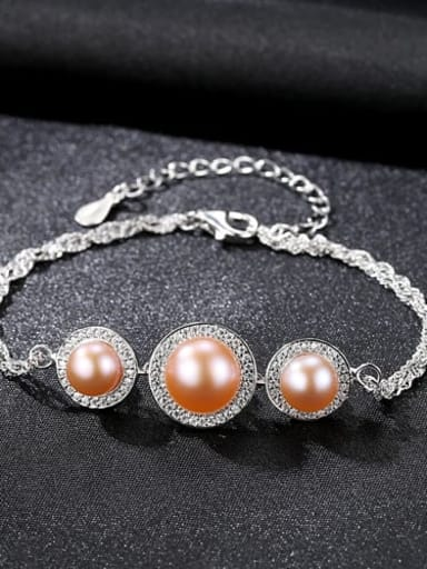 Pink 9E10 925 Sterling Silver ROUND  Freshwater Pearl Bracelet