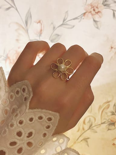 925 Sterling Silver Imitation Pearl White Flower Cute Band Ring