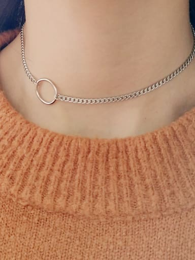 925 Sterling Silver Round Minimalist Choker Chain  Choker Necklace