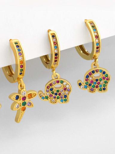 Brass Cubic Zirconia Dragonfly Vintage Huggie Earring