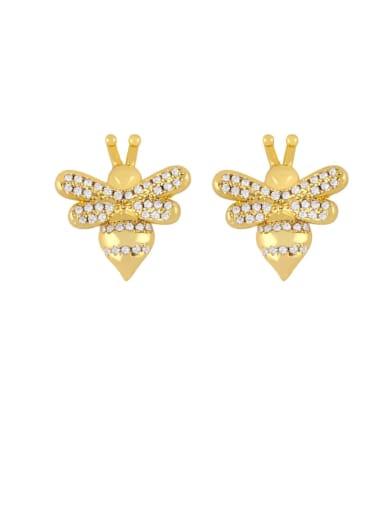 Brass Cubic Zirconia Butterfly Dainty Stud Earring