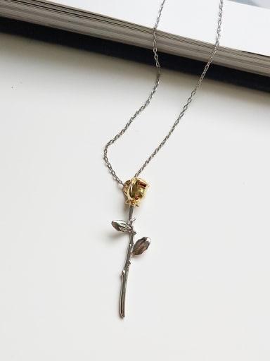 925 Sterling Silver Vintage Rose Pendant Necklace
