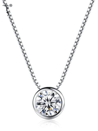 925 Sterling Silver Rhinestone White Round Minimalist Necklace