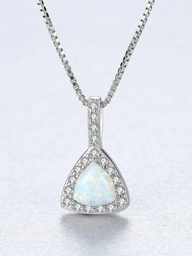 White 20E04 925 sterling silver simple triangle Opal Pendant Necklace