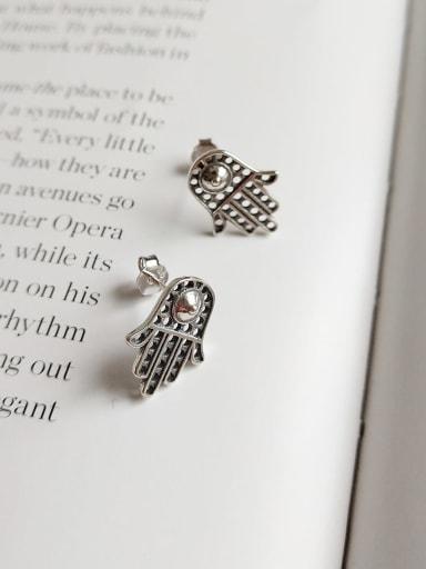 925 Sterling Silver Irregular Vintage Old Hand  Stud Earring