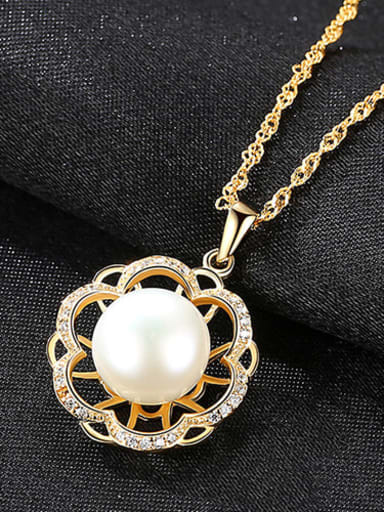 White 5G11 925 Sterling Silver Freshwater Pearl Hollow zircon flower pendant  Necklace