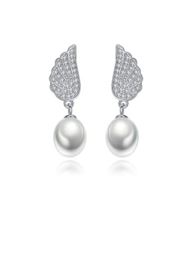 925 Sterling Silver Freshwater Pearl  Wing Trend Drop Earring