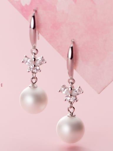 925 Sterling Silver Imitation Pearl Ball Minimalist Drop Earring
