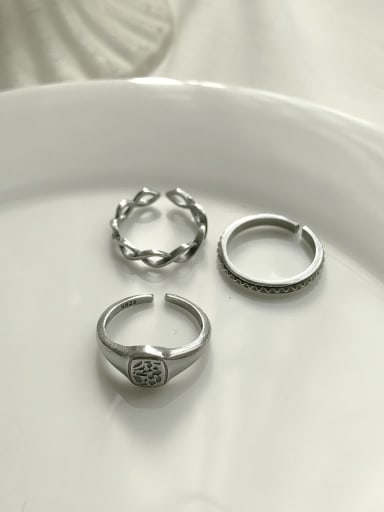 925 Sterling Silver Geometric Vintage  Free Size Midi Ring