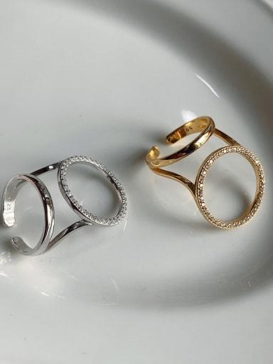 925 Sterling Silver Rhinestone White Round Minimalist Band Ring