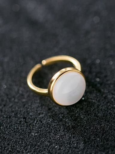 925 Sterling Silver With Gold Plated Simple Round Free Size Ring