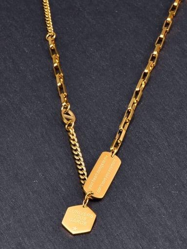 Titanium Letter Minimalist Geometry Pendant Necklace