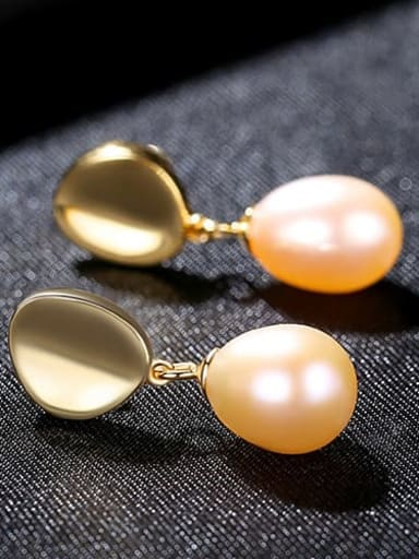 Powder 4h02 925 Sterling Silver Freshwater Pearl  Smooth Round Dainty Drop Earring