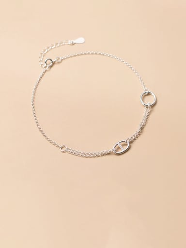 925 Sterling Silver  Minimalist Geometric  Bead Chain Anklet