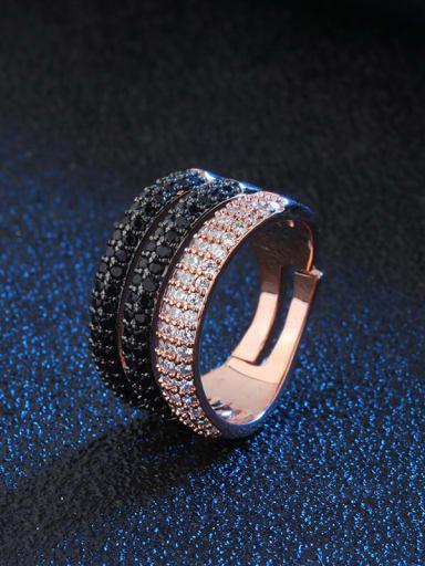 black black rose Brass Cubic Zirconia Geometric Luxury Stackable Ring