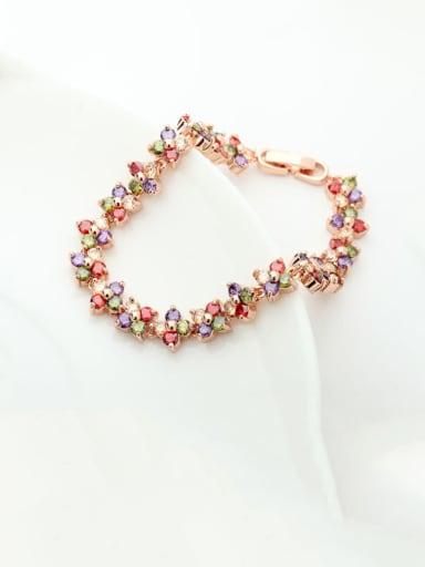 Copper Cubic Zirconia Multi Color Flower Luxury Bracelet